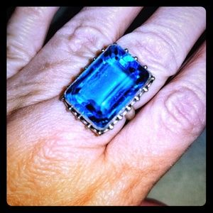 Beautiful Sterling Blue Topaz Ring Size 8.5